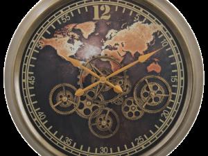 Horloge avec des engrenages visibles et mobiles coloris cuivre et noir