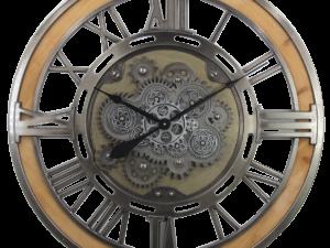 horloge bois et métal avec des engrenages qui tournent