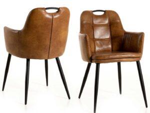 Chaise avec accoudoirs, assise et dossier en simili cuir cognaac