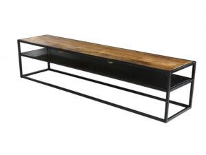 Meuble TV en bois exotique massif foncé sur une structure métal noir