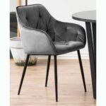 Chaise avec accoudoirs jasmine grise