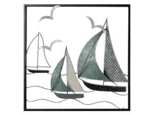 Décoration murale en métal représentant des bateaux bleus en navigation