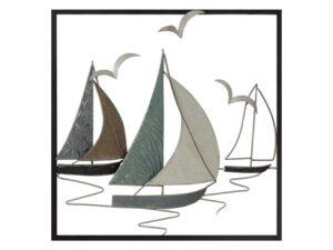 Décoration murale en métal représentant des bateaux et des mouettes