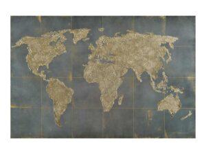 Décoration métallique murale représentant une carte du monde