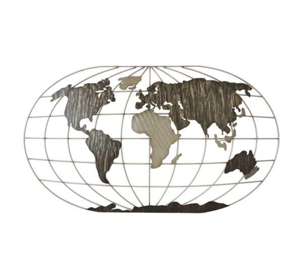 Objet de décoration murale qui représente une map monde en métal doré