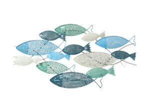 Sculpture en métal représentant des poissons bleus et verts