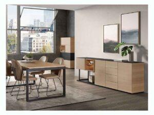 Salle à manger en chêne ottawa avec table et dressoir dans différentes dimensions possibles
